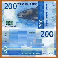 Norway, 200 Kroner, 2016 (2017), P-New, UNC, Redesigned