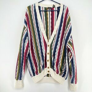 Vintage Structure Sweater Mens XL Multi-Color Striped 'Coogi' Style Cardigan