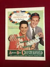 """1947, Ted Williams / Stan Musial, """"Chesterfield"""" Ad (Scarce / Vintage)"""