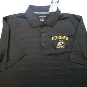 NCAA Oregon Ducks Champion Mens Textured Short Sleeve Polo Black Size Medium