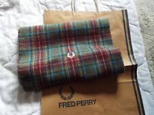BNWT Tartan Fred Perry Scarf  90% wool 10% cashmere quality item with logo NEW