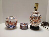 Vintage Set of 3 Japanese Porcelain Pieces - 1 Lamp 1 Vase & 1 Trinket Box