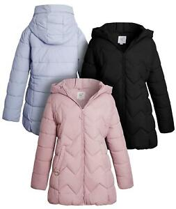 Girls Puffer Jacket Padded Lined Winter Coat Age 9 to 16 Years Black Parka Pink