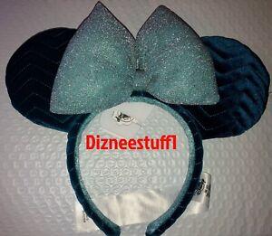 Walt Disney World Azul Blue Velvet Mickey Minnie Ears Headband New