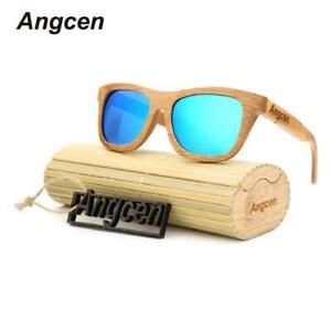 Angcen 2017 New fashion Products Men Women Glass Bamboo Sunglasses au Retro Vint