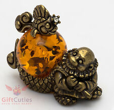 Solid Brass Amber Figurine Elder Fisherman & Golden Fish Fairy tale IronWork