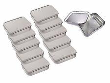 10 x Metal Large 2oz / 50g Tobacco Tin with Lids - Plain Silver / Chrome Colour