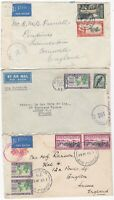 1940/1 3 x NEW ZEALAND CENSORED COVERS >UK - 1 VIA CAPETOWN - 1 AIR FORCE PMK