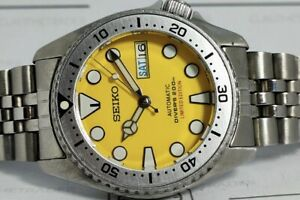 LOVELY YELLOW SUMO MODDED SEIKO 7S26-0030 SKX013 AUTOMATIC MENS WATCH SN 310050