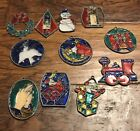Stained Glass Christmas Sun Catcher Ornaments Lot Vintage