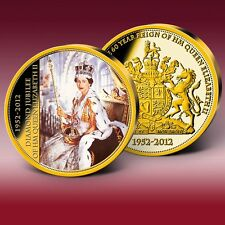Coronation Queen Elizabeth II Gold Coin Color Commemorative Strike Windsor Mint