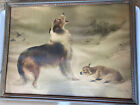 VINTAGE THE SHEPHERDS CALL/FOUND DOG+LAMB WALTER HUNT RADIO PICTURE Frame