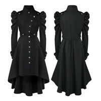 Lady Vampire Gothic Long Jacket Top High Low Hem Dress Tailcoat Dress Frock Coat
