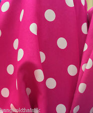 "Polka Dot Hot Pink White Matt Satin 60""W Fabric Skirt Scarf Lining Dress"
