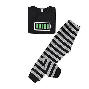 Family PJs Battery Print Top+Striped Pant Men Women Kid Babys Sleepwear Homewear