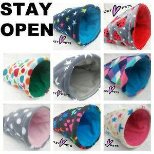 """**STAY OPEN***LARGE***11""""x 9"""" FLEECE GUINEA PIG BED POUCH SMALL ANIMALS HEDGEHOG"""