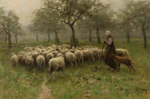 Shepherdess with Flock of Sheep by Anton Mauve 75cm x 49.6cm Canvas Print