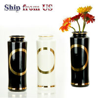 Modern Flower Vase Luxury Elegant Home Decoration 24K Gold Rim Ceramic Gift