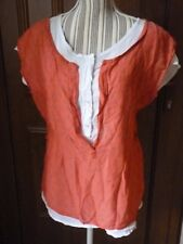 MADE IN ITALY Blouse 2 en 1 blanc corail T2 38/40 liberty T-shirt tunique