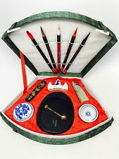 Vintage Chinese Brush Calligraphy Set Fan Shaped Green Box Wax Seal China Ink