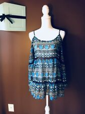 Women's Paper Crane Blue White Brown Bell Sleeve Cold Shoulder Blouse Size Small