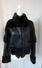 NWT Soft Black Lambskin Bergama Leather and Genuine Mink Fur Jacket Size M/ 44