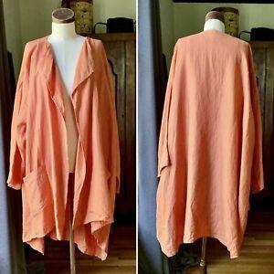 Rare ESKANDAR Smaller Front Larger Back UMBER Jacket Coat Long Plus SZ 1 LINEN