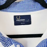 Fred Perry Chequered Collar Polo - L - White - Slim Fit - Mod Casuals