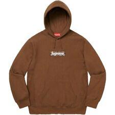 Supreme 2019 Bandana Box logo Hoodie sweatshirt Dark Brown Large New