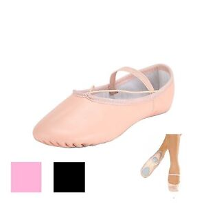 Leather Ballet Split Sole Shoes Adult's and Child's Sizes Pink or Black Colour