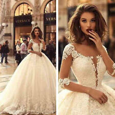 Stunning Cathedral Wedding Dresses Bridal Gown Half Sleeve White Ivory Boho 2018