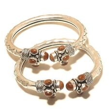 Gorgeouse Silver Plated Sunstone Cuff Bangel Handmade Gemstone Jewelry