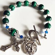 UNDOUBTED Malachite BEADS BRACELET CROSS Sterling Silver flower Travel Rosary