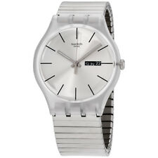 Swatch Originals Resolution Silver Dial Stainless Steel Unisex Watch Suok700B