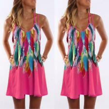 Women Boho Holiday Floral Dresses Ladies Sleeveless Summer Beach Dress Sundress