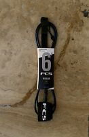 NEW FCS 6' (6ft.) Regular (7mm) Classic Surfboard Surf Leash - Black