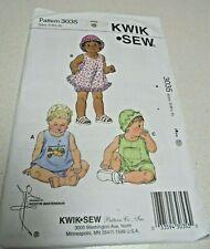KWIK SEW SEWING PATTERN BABY SUNDRESS BLOOMERS SHORTALLS & HAT SIZE S - XL K3035