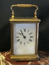Antique French Couaillet Freres brass & porcelain carriage clock time & strike