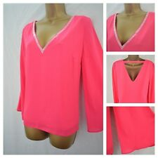 NEW WALLIS TOP TUNIC HOT PINK SILVER PEARL OCCASION PARTY SIZE 8 - 18