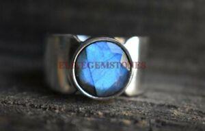Natural Labradorite Gemstone with 925 Sterling Silver Ring for Men's EG1022