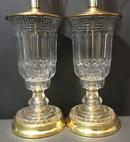 PAIR VINTAGE MCM CLEAR CUT GLASS 2 LARGE LAMPS~PAIR~ELECTRICAL