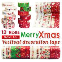 12 Roll Weihnachts Washi Tape Festliche Bronzieren DIY Scrapbooking Band Album