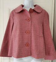 Womens Monsoon Pink Wool Cropped Swing 3/4 Sleeves Jacket With Pockets 12.