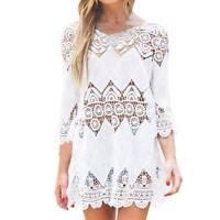 Women Beach Cover Up Lace Hollow Crochet Tops Swimwear Beach Dress Tunic Shirt