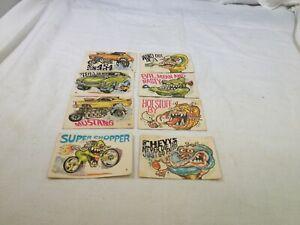 (8) 1970 Donruss Fiends & Machines Stickers