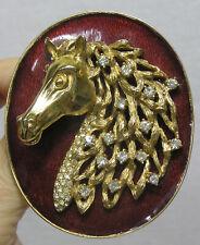 Vtg Jewelry Brooch Signed CINER Fabulous Horse Head Rhinestones Goldtone Enamel