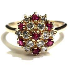 14k yellow gold .48ct SI1 H diamond ruby womens ring 4.2g estate vintage