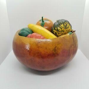 """Vintage Decorative 12"""" Diameter Gourd Bowl With 12 Faux Fruits & Vegetables EUC"""