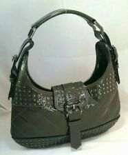 Burberry Brooke Dark Green Patent Leather Studded Shoulder Hobo Hand Bag Auth
