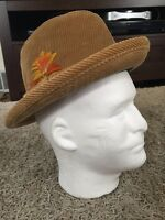 Vintage Men's Eddie Bauer Camel Brown Corduroy Fedora Hat W/ Feather, Size 7